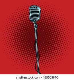 microphone rétro et socle, illustration vectorielle pop art. Musique et concert
