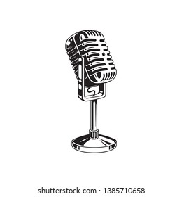 Retro microphone symbol vector in black and white
