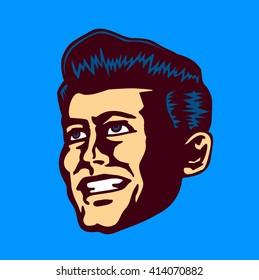 Retro mid-century man face vector clipart illustration head portrait of vintage gentleman