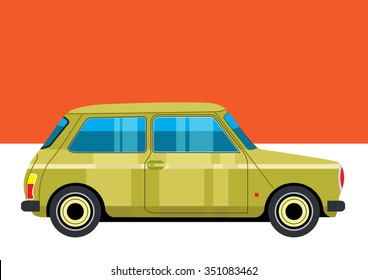 Retro mini yellow car vector on orange background