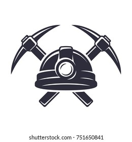 Retro mining logo with hard hat helmet and two crossed pickaxes. Stylish monochrome vector illustration.