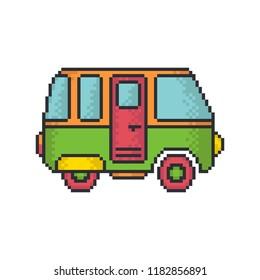Retro minivan pixel art style vector icon on white background.