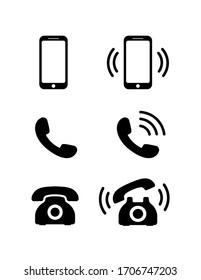 Retro and mobile phone icon set. Black phone symbols in flat style. Ringing phone signs isolated on white background.