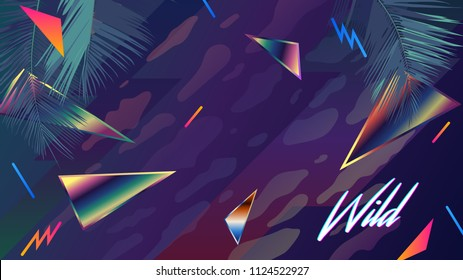 Retro / modern 1980 chrome rainbow reflection element and tropical coconut leaf with sample text