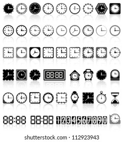Retro and modern clock collection with reflection Vector