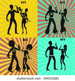 Retro and modern dancing couple,disco dancers, illustration of seventies retro look, jazz dancers,illustration of twenties retro look, hippie dancers, illustration of sixties retro look,modern dancers
