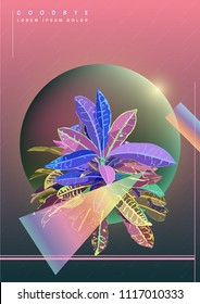 Retro / modern geometric sphere and Neoregelia sagate  background, vector poster, background template
