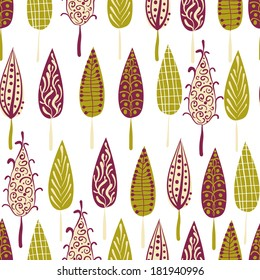 Retro modern trees forest seamless pattern background