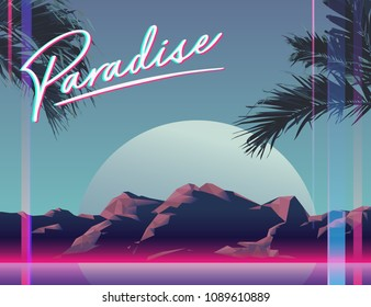 Retro / modern tropical space landscape glitch background