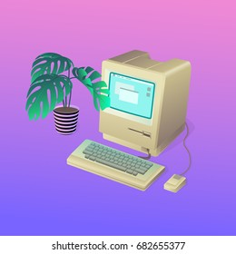 Retro monoblock PC with a flower on the left and gradient background behind. Vector illustration of vintage personal computer  with mouse and keyboard