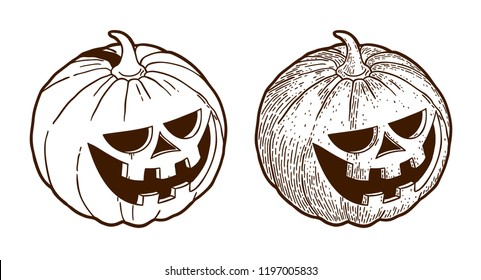 Retro monochrome drawing engraving halloween pumpkin