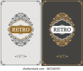 Retro Monogram design elements, Calligraphic graceful template, Elegant line art logo, Business sign for Royalty, Boutique, Cafe, Hotel, Heraldic, Jewelry, Wine, Vector Eps 10