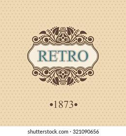 Retro Monogram logo template with flourishes calligraphic elegant ornament elements, Elegant line art logo, Business sign for Royalty, Boutique, Cafe, Hotel, Heraldic, Jewelry, Wine