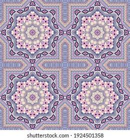 Retro moroccan zellige tile seamless rapport. Ethnic structure vector elements. Velum print design. Traditional moroccan zellige tilework recurrent pattern. Interior decor template.