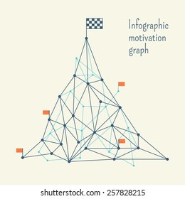 Retro motivation infographic with checkered flag on mountain