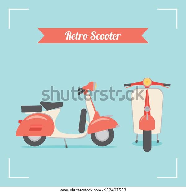 retro motor scooter side front vector stock vector royalty free 632407553 https www shutterstock com image vector retro motor scooter side front vector 632407553
