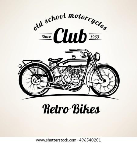retro motorbike emblems labels template vintage stock vector