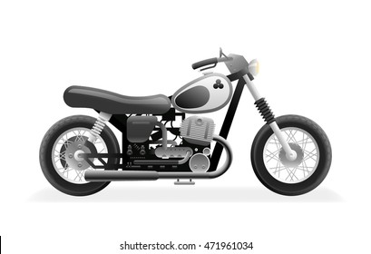 Retro Motorcycle Bike Icon Isolated Realistic Design Vector Illustration