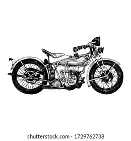 Retro motorcycle, black and white detailed vector illustration isolated without backdrop, flat style. Icon of a stylish vintage motorbike with details for decoration and design without a background