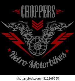 Retro motorcycle label, badge and design elements - vector stock