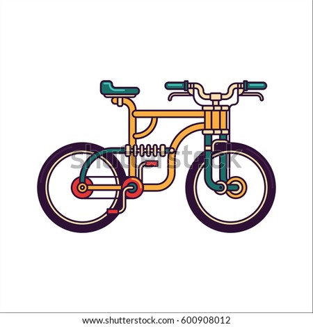Retro Mountain Bike Vector Line Illustration Stock Vector Royalty