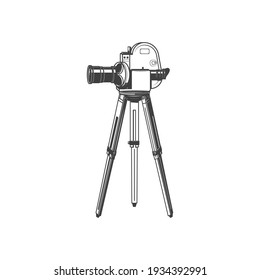 Retro movie camera on tripod isolated monochrome icon. Vector film projector, motion picture symbol. Movie time, professional vintage photocamera. Cinematography and motion picture equipment