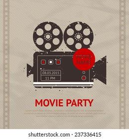 Retro movie cinema production poster with vintage camera device vector illustration