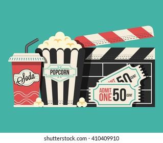 Retro movie flat cartoon lllustration