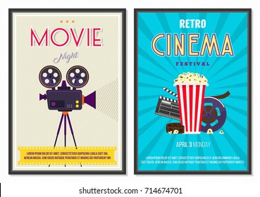 Retro Movie Posters Set in Vintage 70s 80s 90s Cinema Collection. Promotional Printing for Ad Banner Web Design Flyer Layout Template in A4