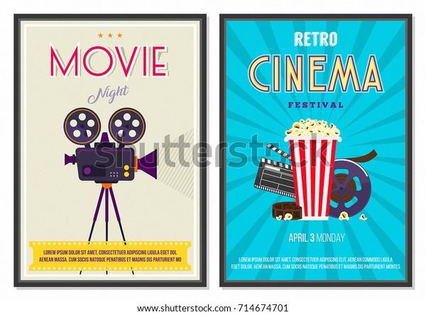 Retro Movie Posters Set Vintage 70s Stock Vector Royalty Free 714674701