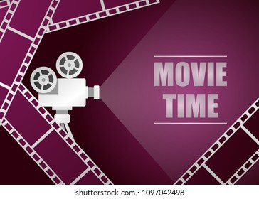 Retro movie projector with movie strip vector background