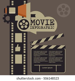 Retro movie template, media player, flat design, illustration, modern style, vector, concept, icons,digital, online, advertising