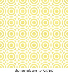 retro multiple white circles in rows on sunny yellow background abstract geometric seamless pattern