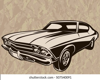 Retro muscle car vector illustration. Vintage poster of reto car. Old mobile isolated on white.