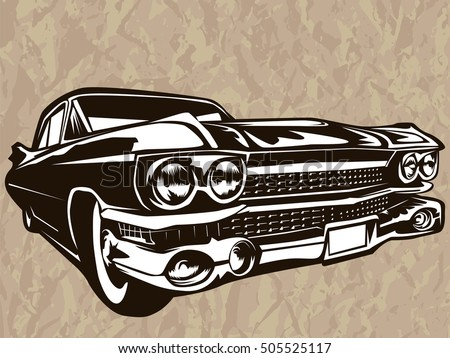 Retro Muscle Car Vector Illustration Vintage Stock Vector Royalty