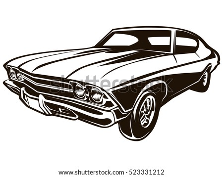 Retro Muscle Car Vector Illustration Vintage Stock Vector Royalty