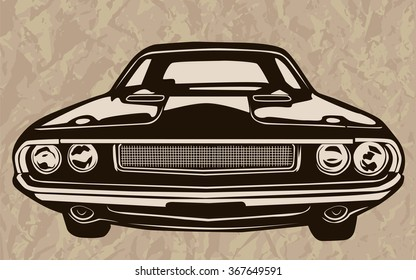 Retro muscle cars inspired cartoon sketch. Vector abstract old style muscle car. Vector image can be used for posters and printed products.