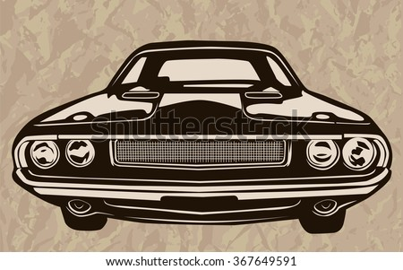 Retro Muscle Cars Inspired Cartoon Sketch Stock Vector Royalty Free