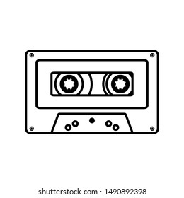 retro music cassette isolated icon