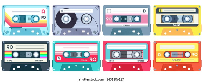 Retro music cassette. Stereo DJ tape, vintage 90s cassettes tapes and audio tape. antique radio play cassette, 1970s or 1980s rock music mix audiocassette. Isolated vector icons set