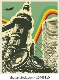 Retro Music City Vector Illustration