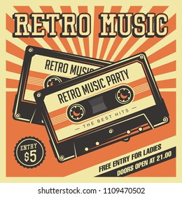 Retro Music Compact Cassette Vintage Signage Poster Vector