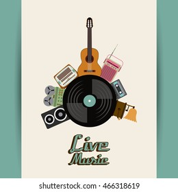Retro and Music concept represented by cassette vinyl guitar radio gramaphone speaker icon. Colorfull and vintage illustration.