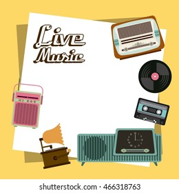Retro and Music concept represented by cassette vinyl radio gramaphone icon. Colorfull and vintage illustration.