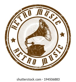 Retro music grunge rubber stamp on white, vector illustration
