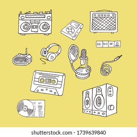 Retro music items. Hand-drawn. Nostalgia. Boombox, mp3 player, radio, headphones, microphone, speaker, buttons.