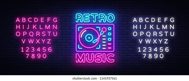 Retro Music neon sign vector. Retro Music Design template neon sign, Retro Style 80-90s, celebration light banner, gramophone neon signboard, nightly advertising. Vector. Editing text neon sign