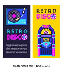 Retro music. An old jukebox. Vinyl record player. Vector illustration.