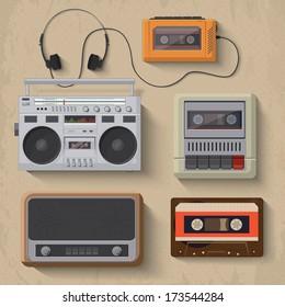 Retro music player icons. Vector illustration