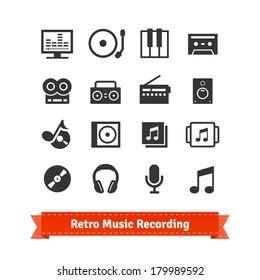 Retro music recording and multimedia icon set.